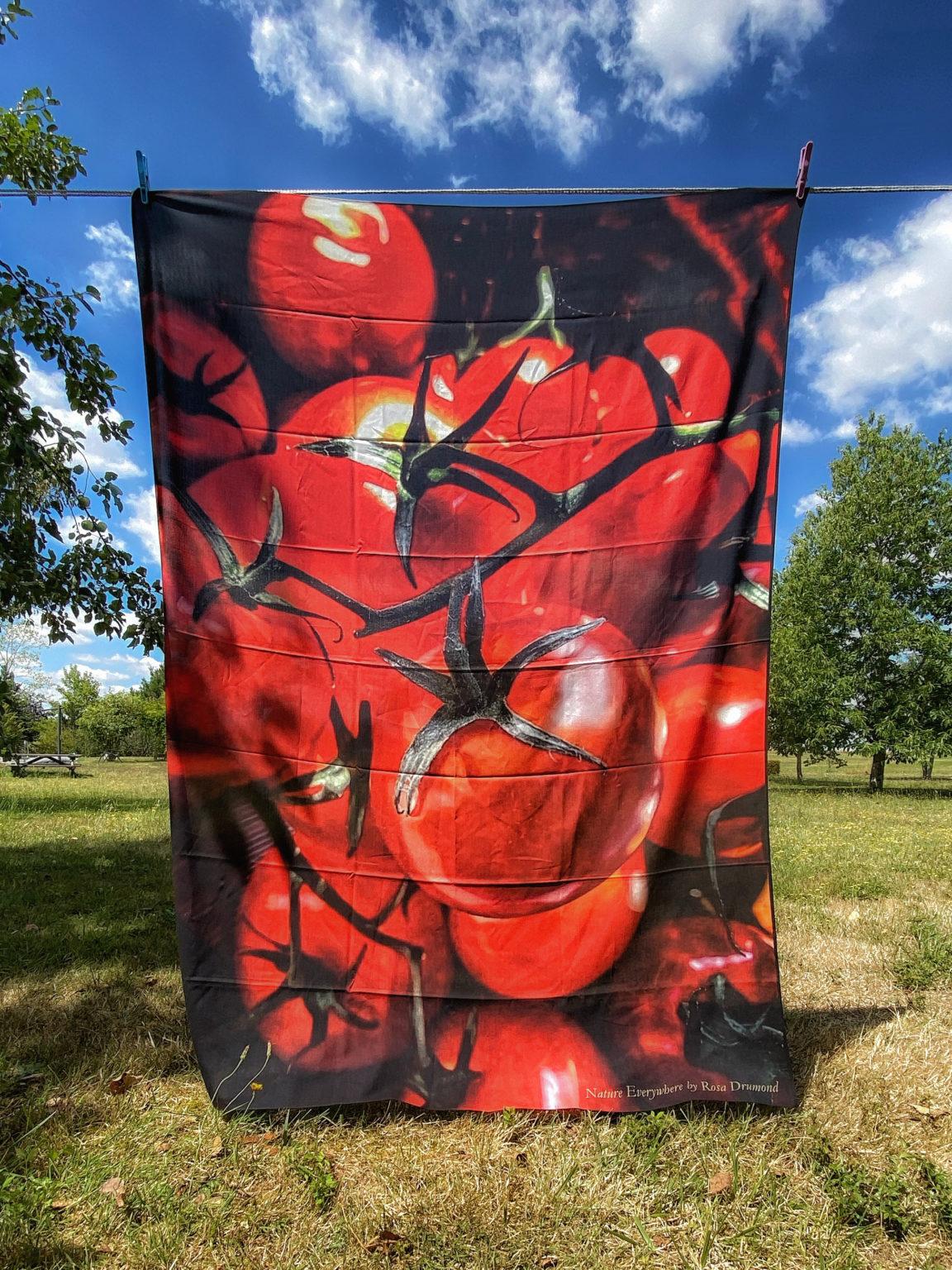 Grand paréo en viscose Tomates cerise